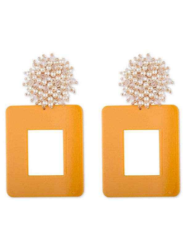 Geometric Square Shaped Artificial Pearl Earrings - YELLOW