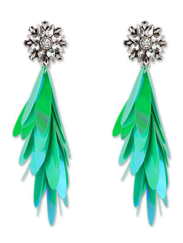 Long Paillettes Design Dangle Earrings - GREEN
