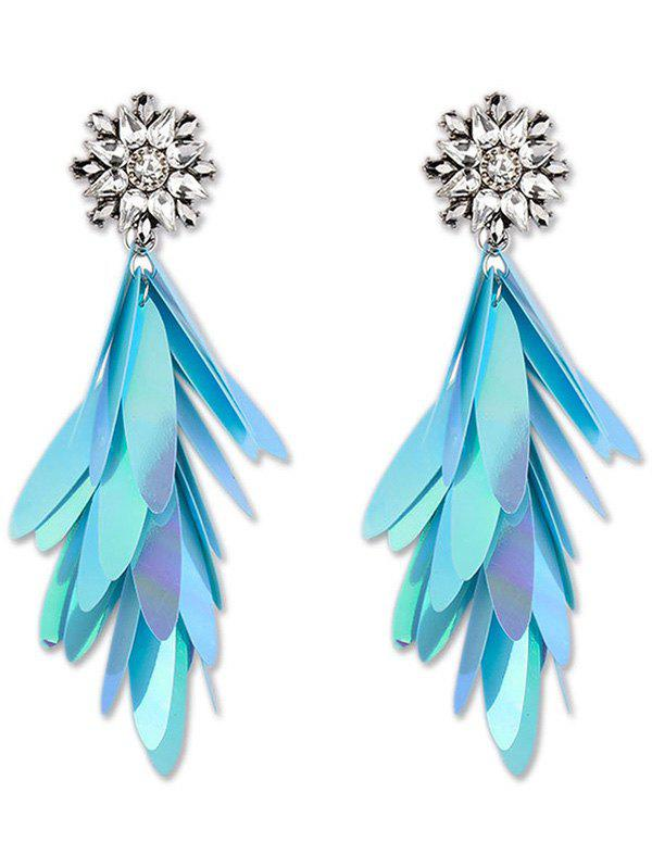 Long Paillettes Design Dangle Earrings - BLUE