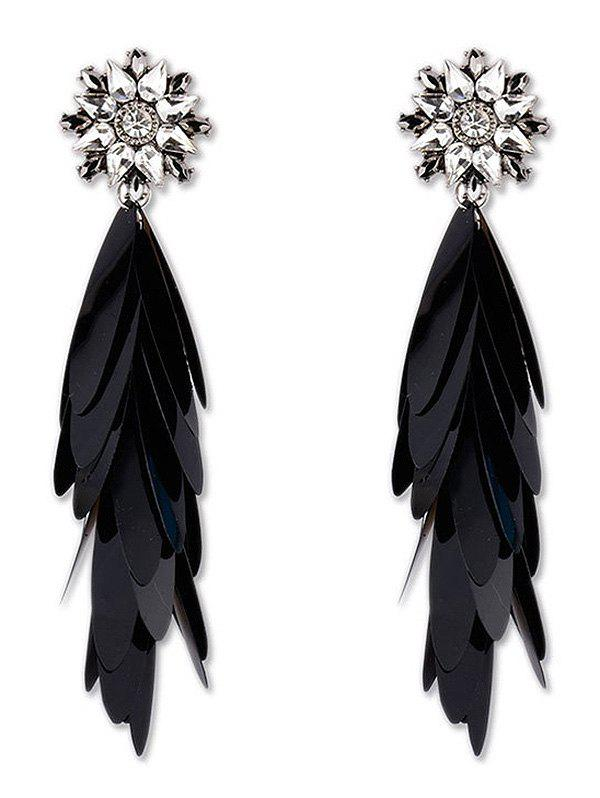 Long Paillettes Design Dangle Earrings - BLACK