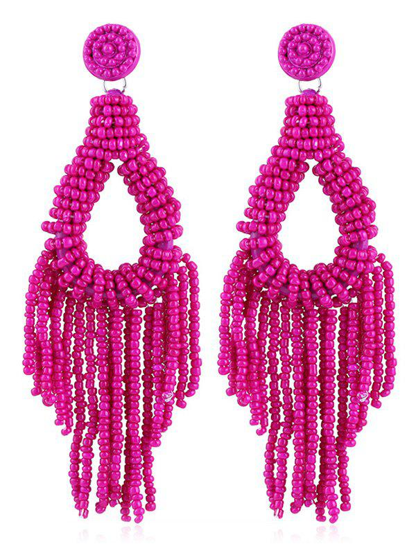 Beads Decoration Teardrop Design Tassel Earrings - ROSE RED