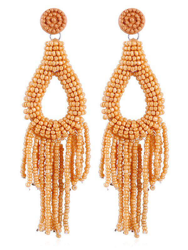 Beads Decoration Teardrop Design Tassel Earrings - SCHOOL BUS YELLOW
