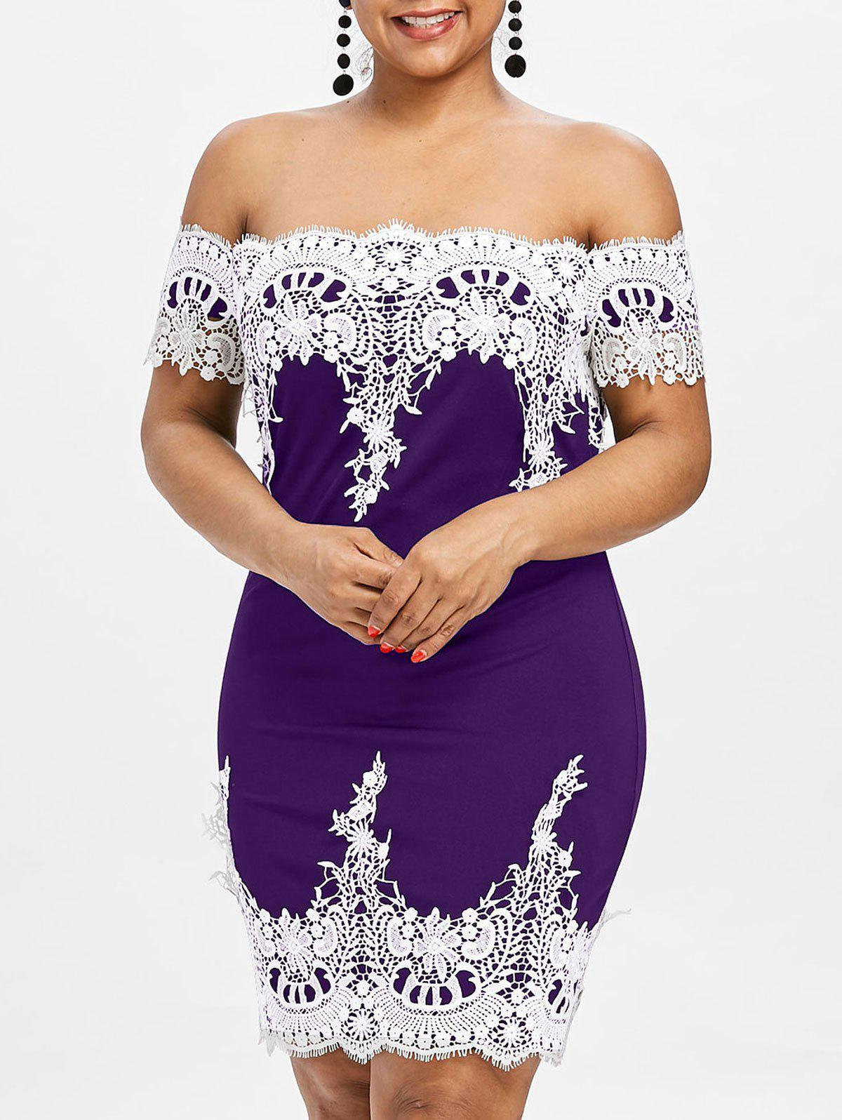Plus Size Lace Trim Off Shoulder Dress - PURPLE 3X