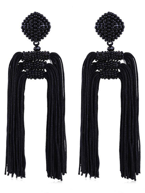 Beads Decoration Tassel Design Drop Earrings - BLACK