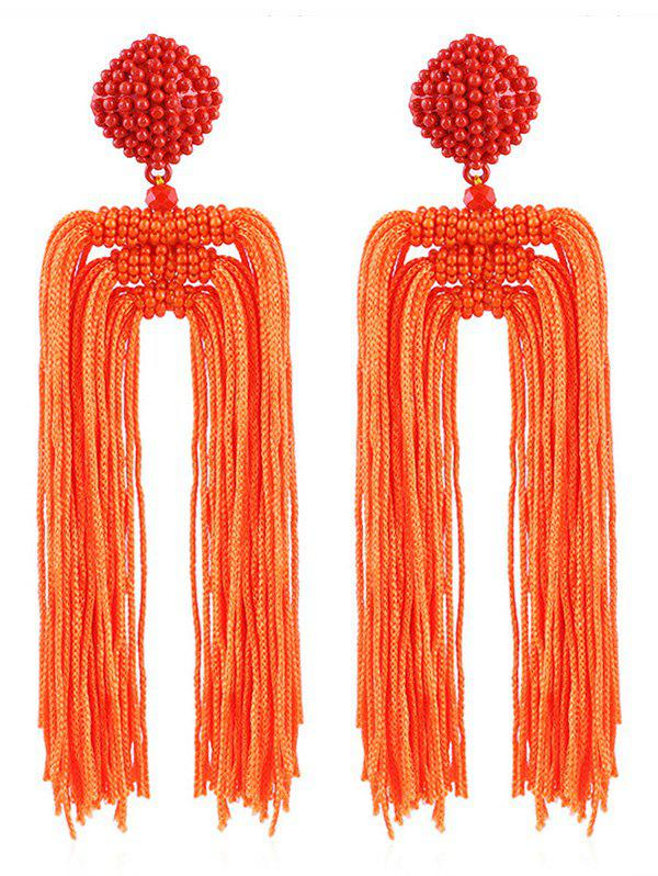 Beads Decoration Tassel Design Drop Earrings - TANGERINE