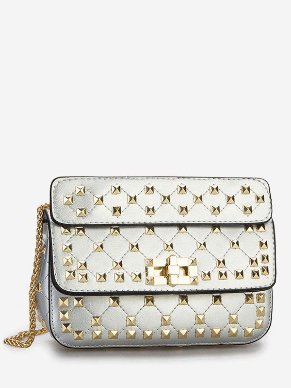 Twist Lock All Over Studs Chain Sling Bag - SILVER