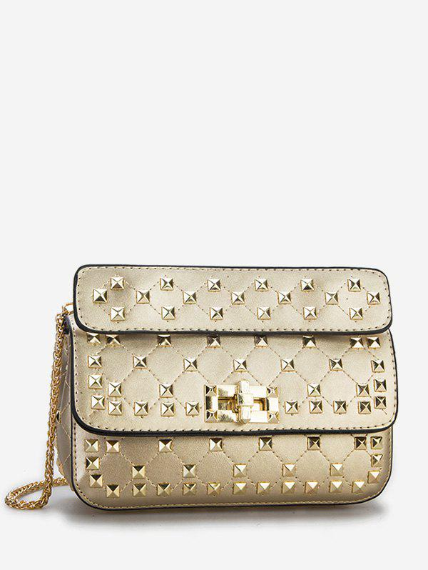 Twist Lock All Over Studs Chain Sling Bag - GOLD