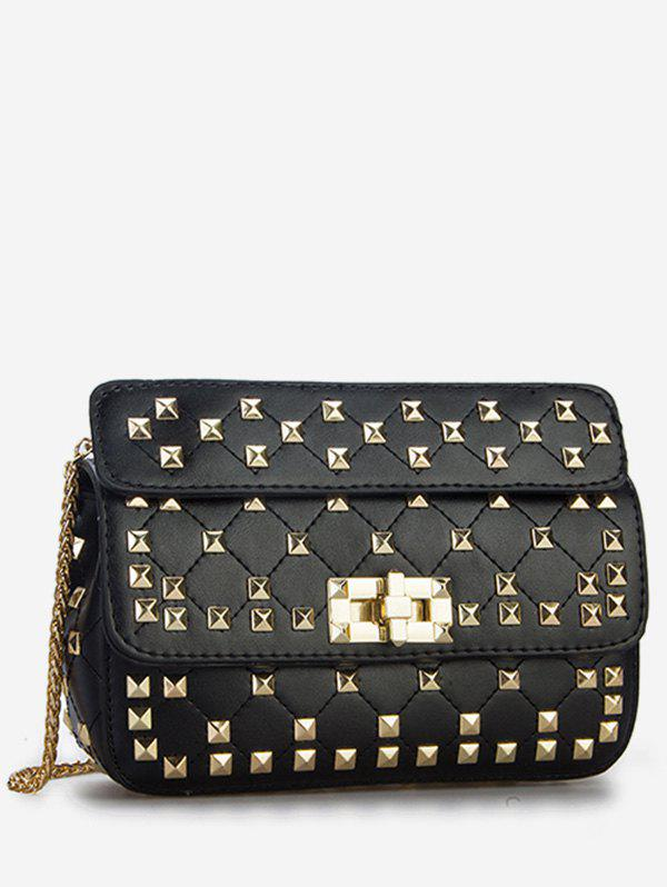 Twist Lock All Over Studs Chain Sling Bag - BLACK