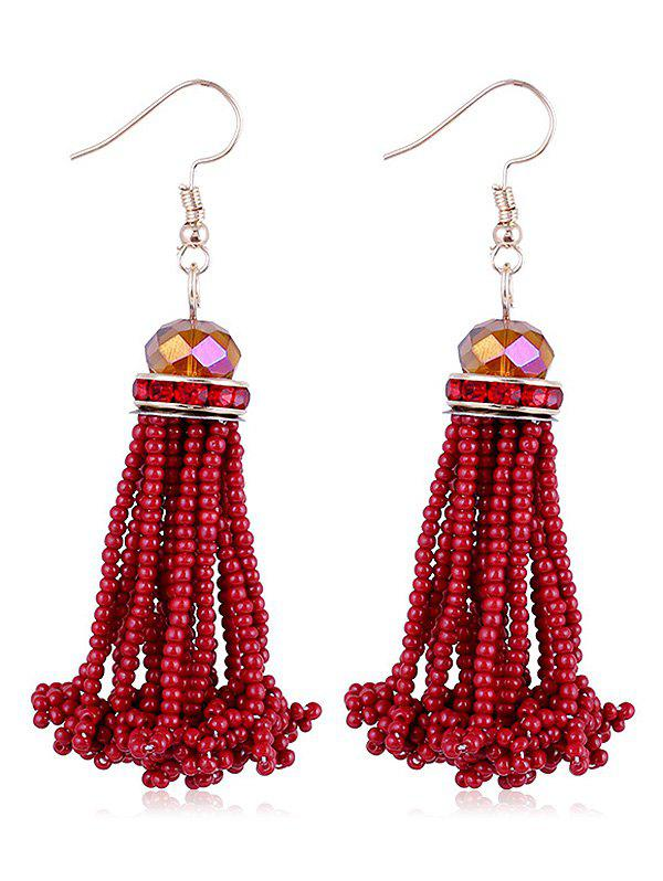 Rhinestone Beads Tassel Hanging Hook Earrings - RED