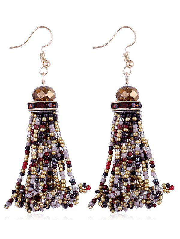 Rhinestone Beads Tassel Hanging Hook Earrings - multicolor