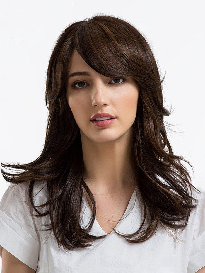 Long Side Fringe Layered Slightly Curly Synthetic Wig - DEEP BROWN