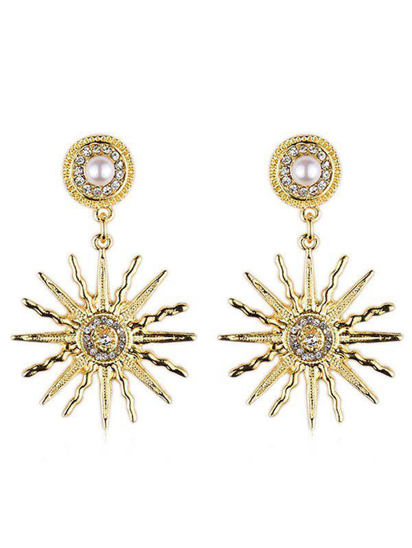 Artificial Pearl Sun Light Design Rhinestone Earrings - GOLD