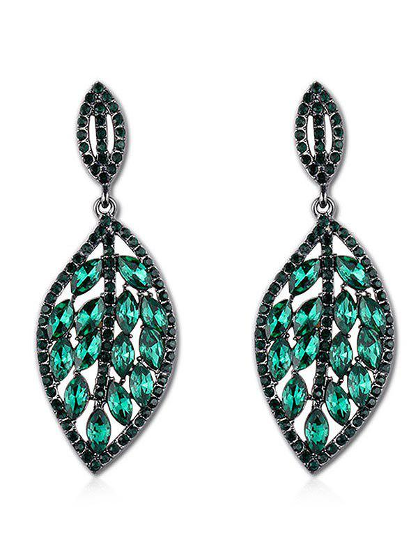 Leaf Design Rhinestone Decoration Drop Earrings - GREEN