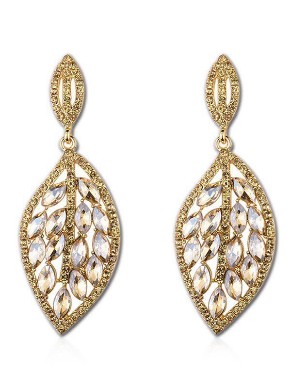 Leaf Design Rhinestone Decoration Drop Earrings