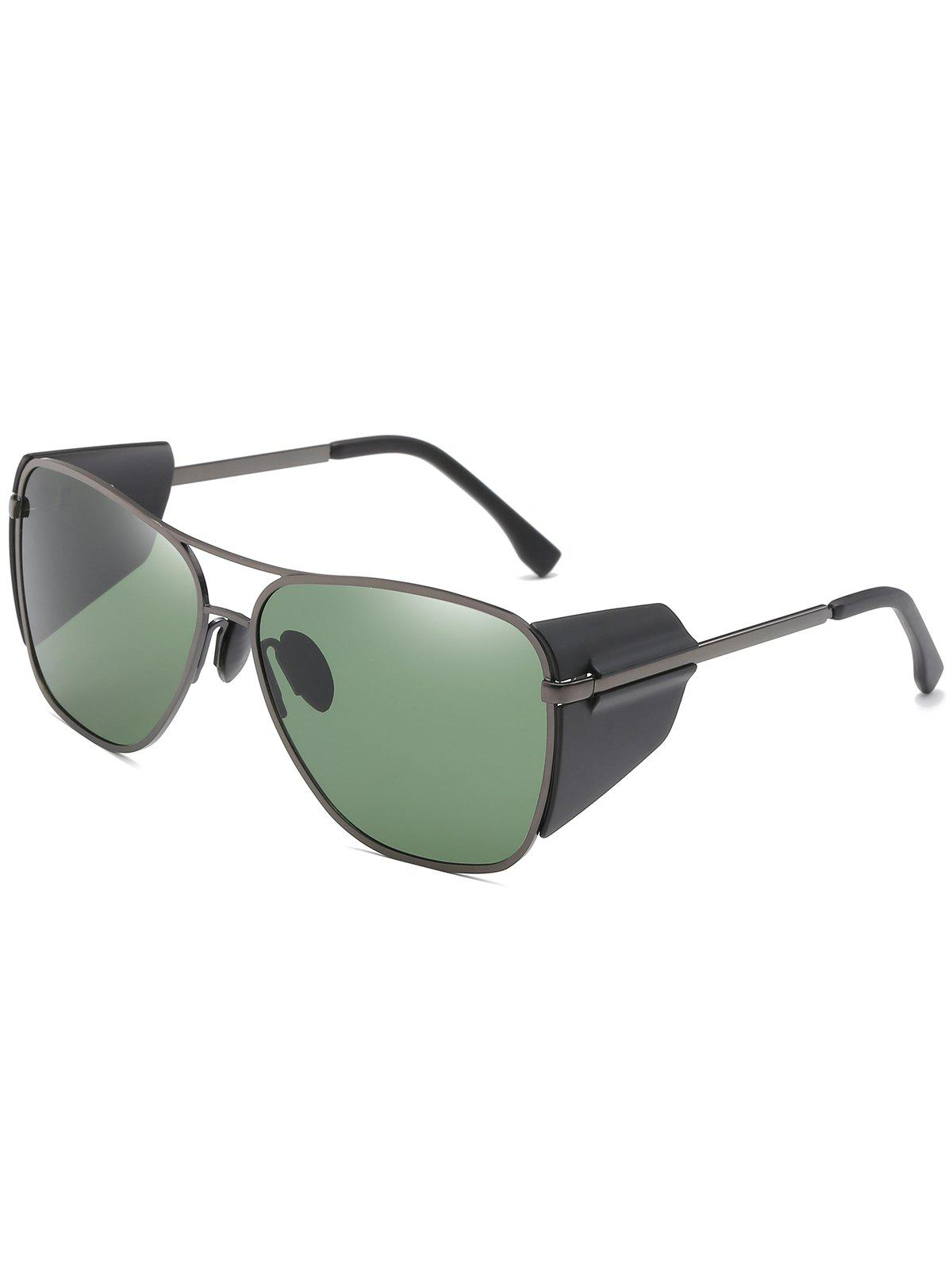 Anti Fatigue Top Bar Frog Mirror Sunglasses - SEA GREEN