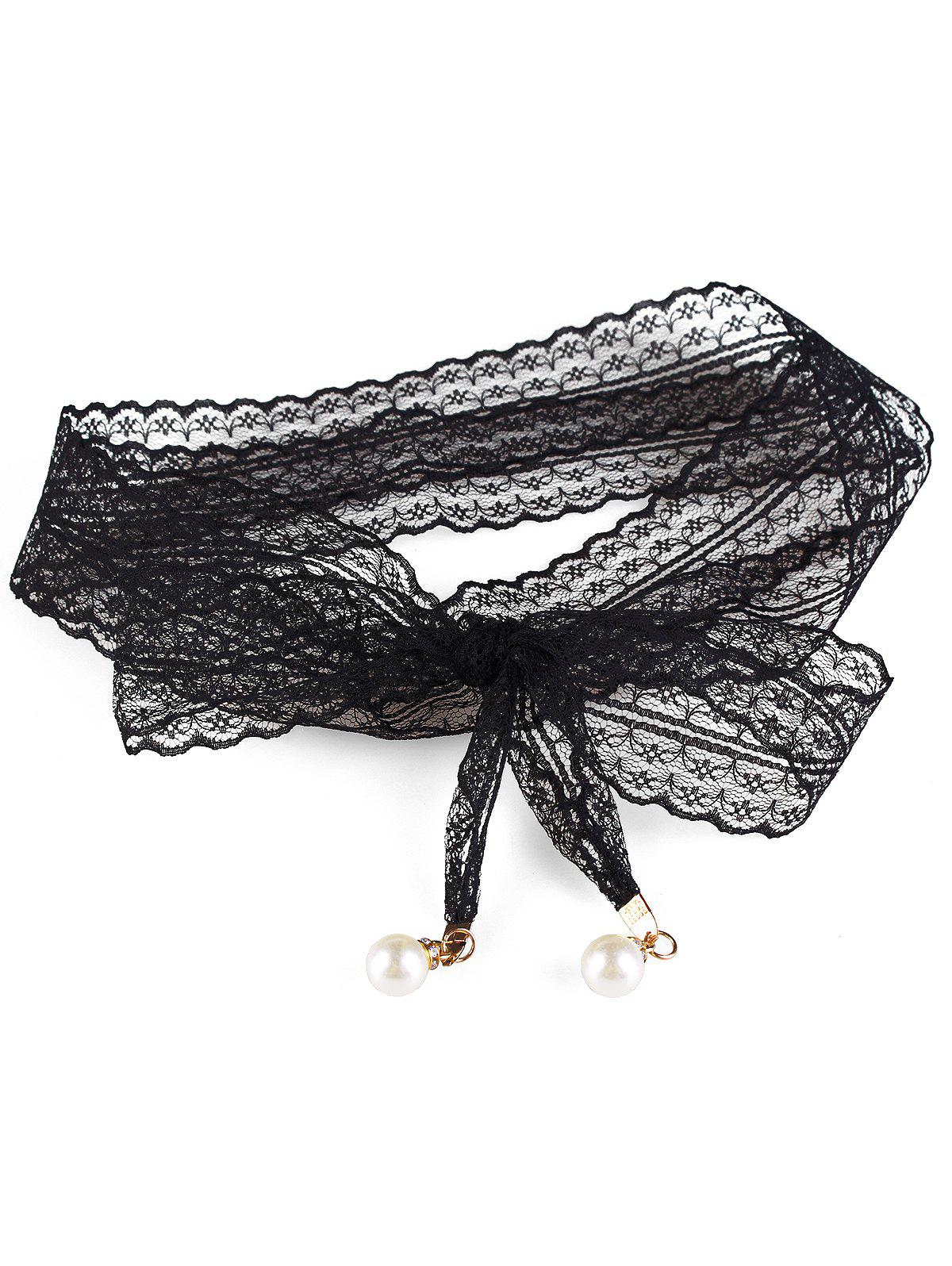 Stylish Faux Pearl Lace Dress Sash Belt - BLACK