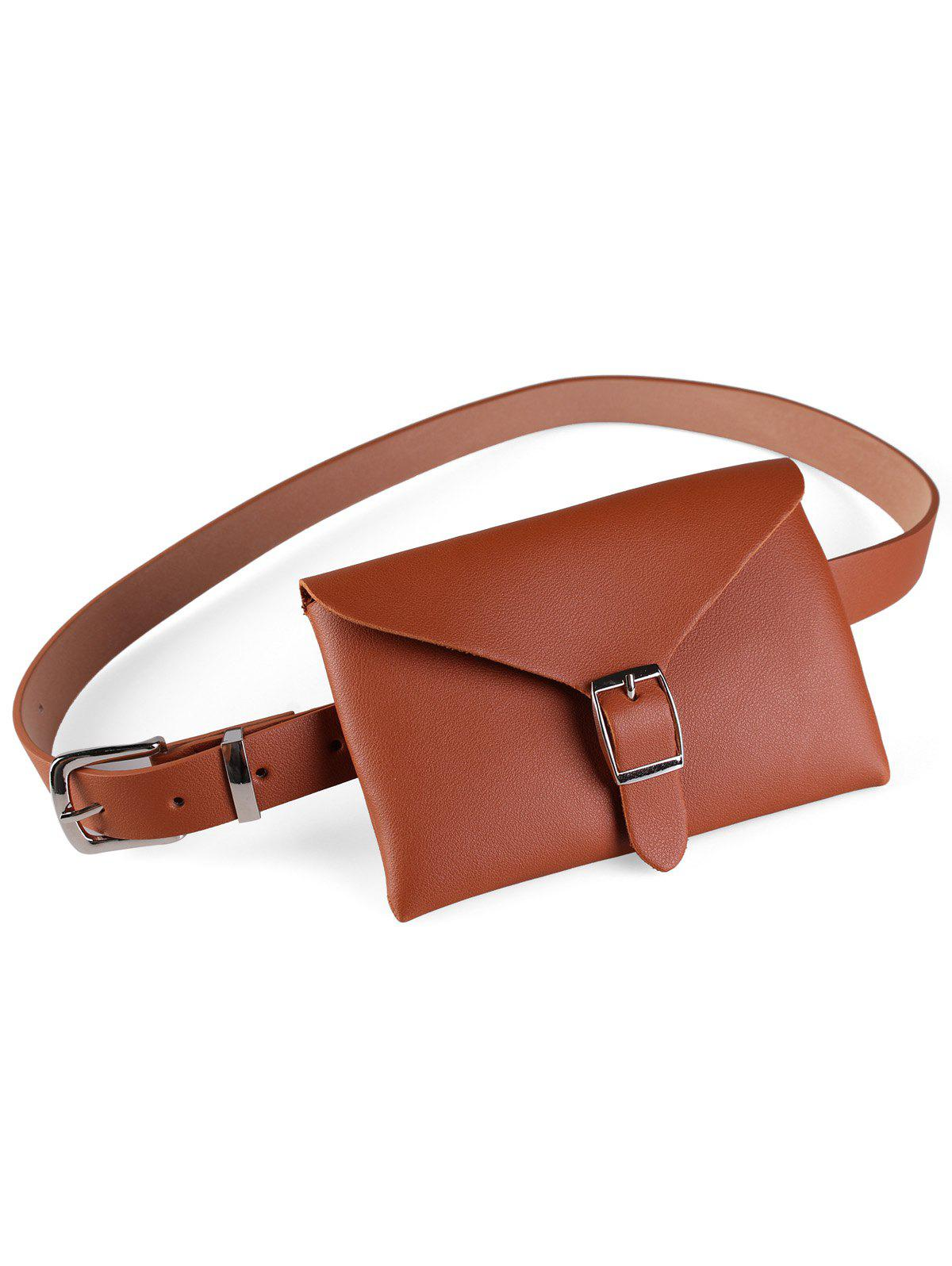 Fanny Pack Decorative Faux Leather Belt Bag - RUST