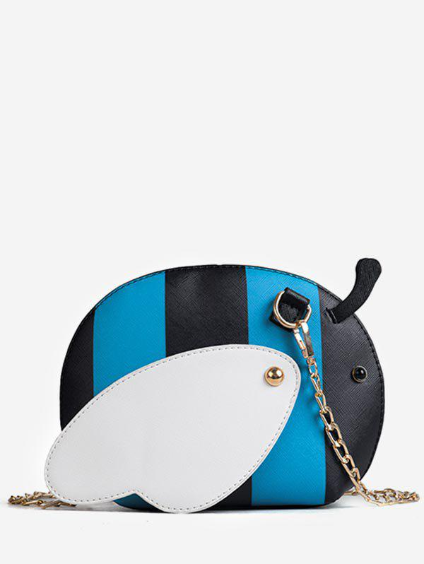 Faux Leather Chic Critters Pattern Chain Crossbody Bag - BLUE