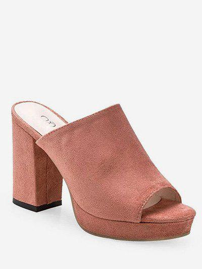 Leisure Peep Toe Block Heel Mules Shoes - LIGHT PINK 39