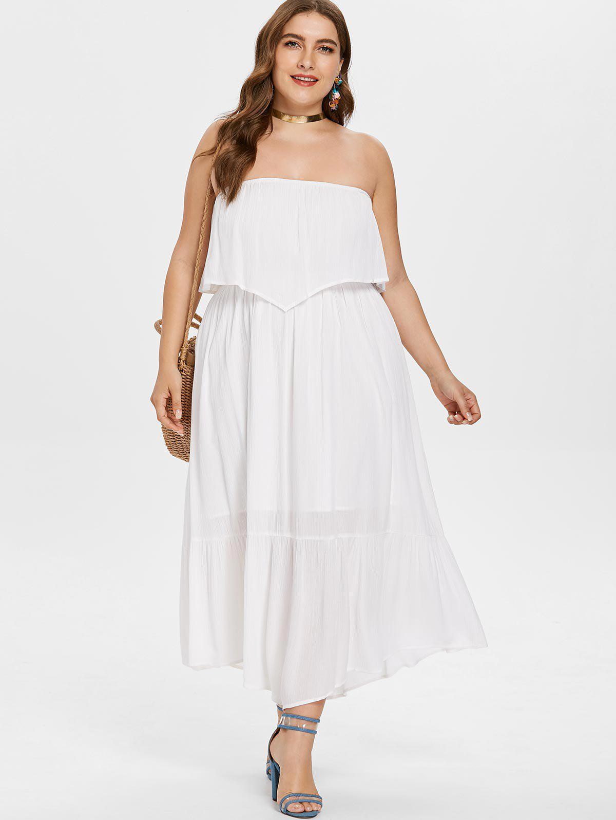 Plus Size Bandeau Long Dress - WHITE 4X