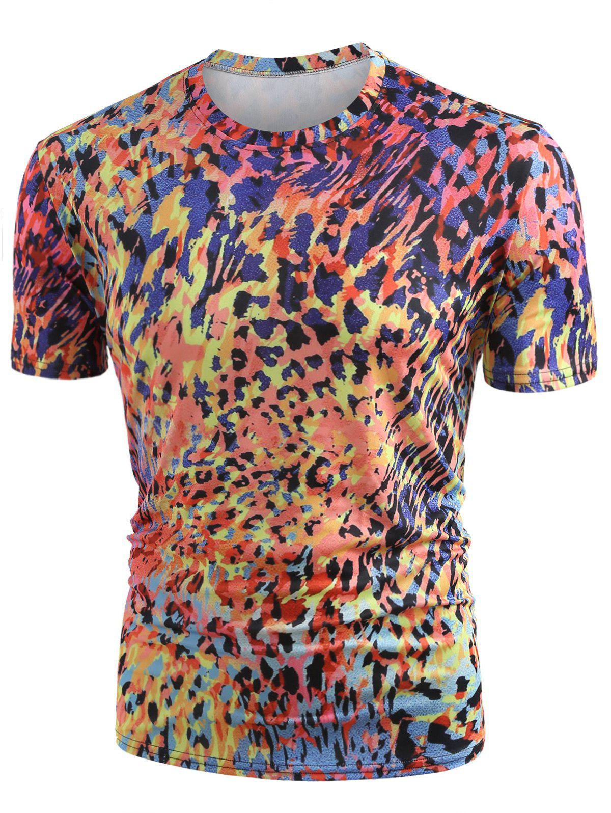 Short Sleeve Allover Colormix Print Tee