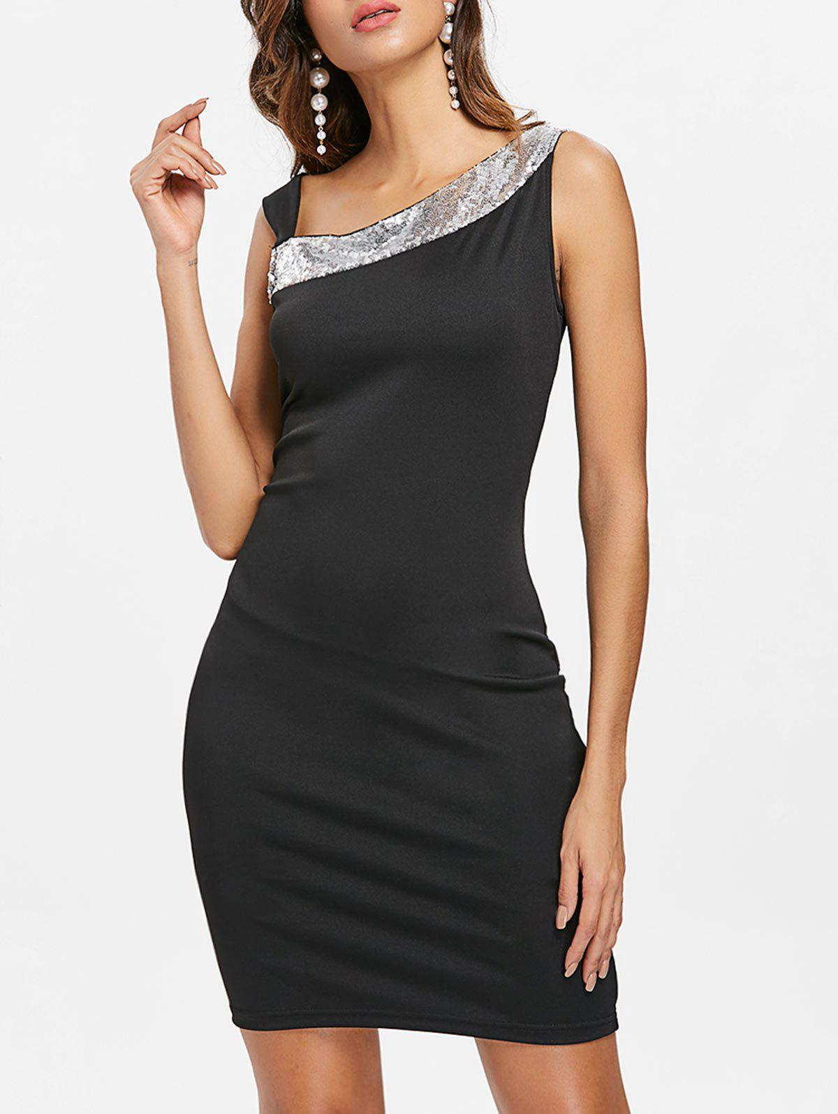 Skew Neck Sequins Mini Party Dress - BLACK L