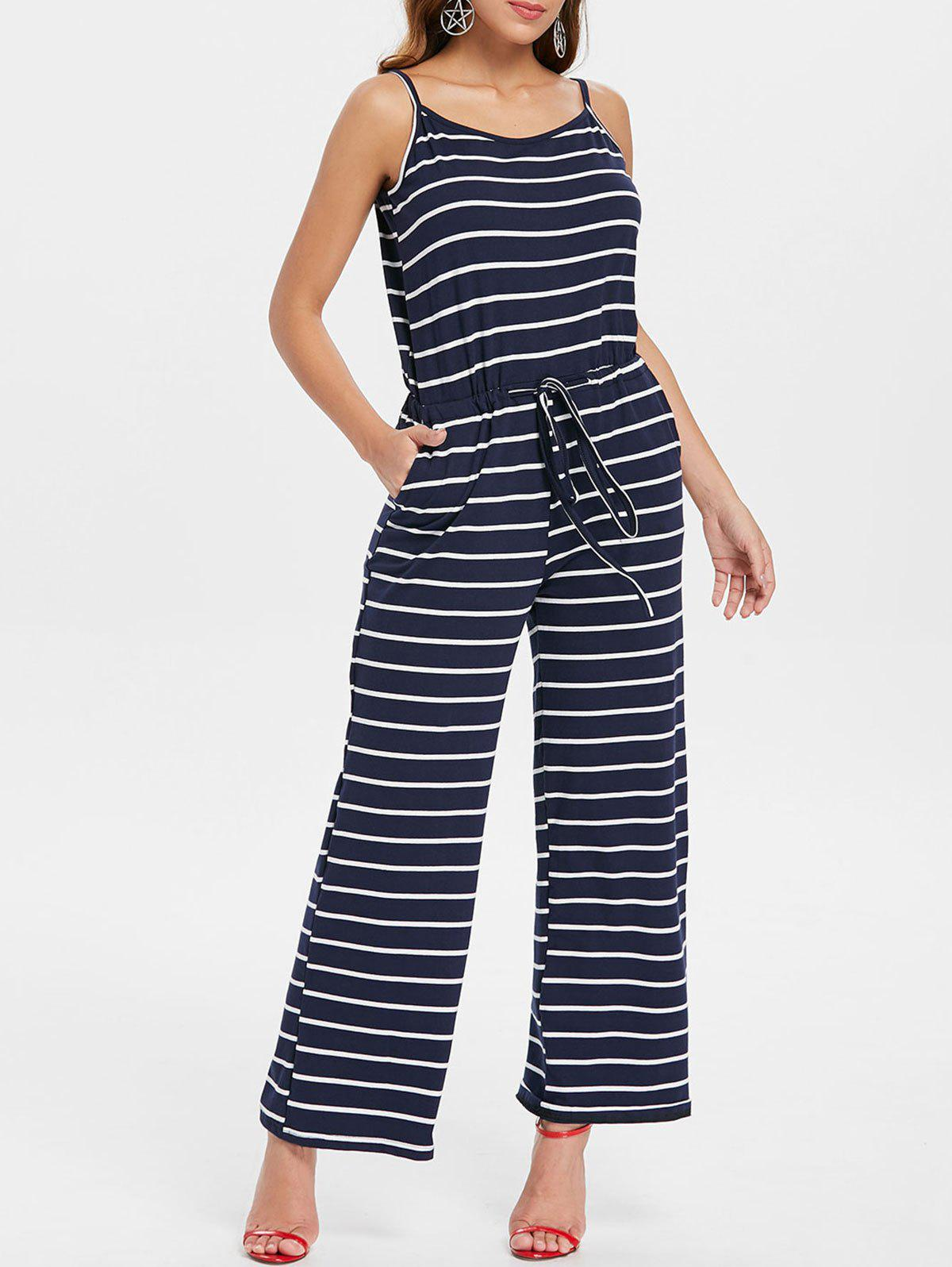 Spaghetti Strap Striped Jumpsuit - NAVY BLUE 2XL