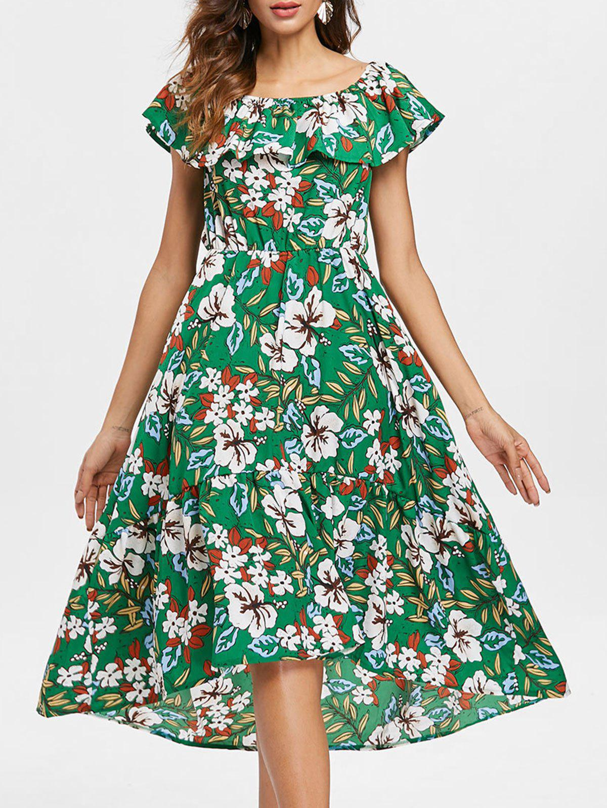 Floral Ruffled Dress - GREEN S