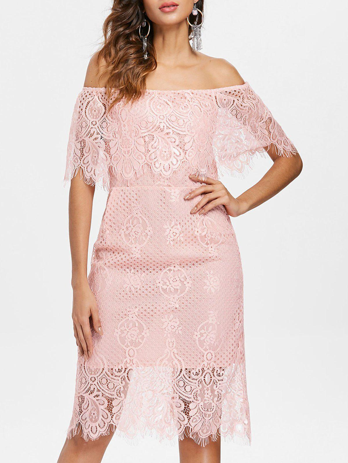 Off Shoulder Ruffled Lace Bodycon Dress - LIGHT PINK M
