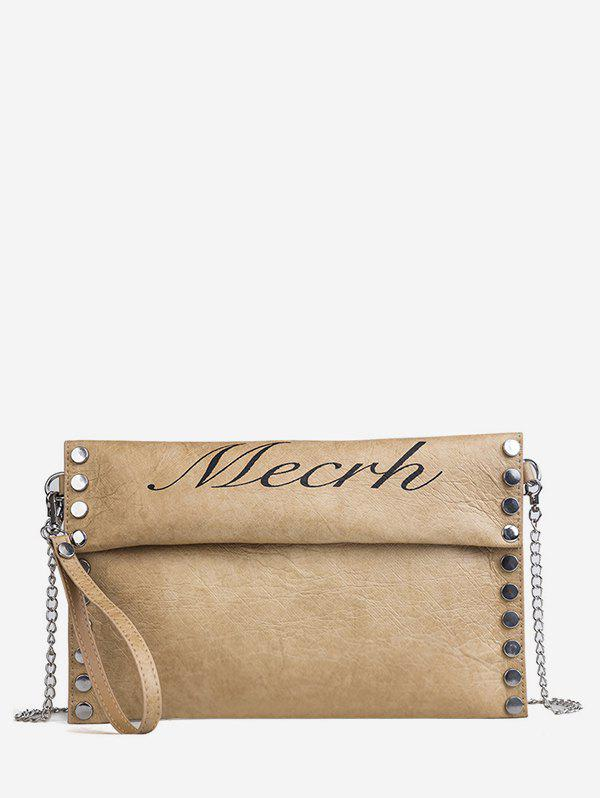 Casual Letter Studded Flapped Crossbody Bag - TAN