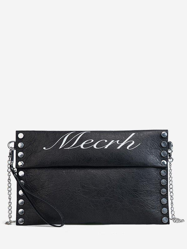 Casual Letter Studded Flapped Crossbody Bag - BLACK