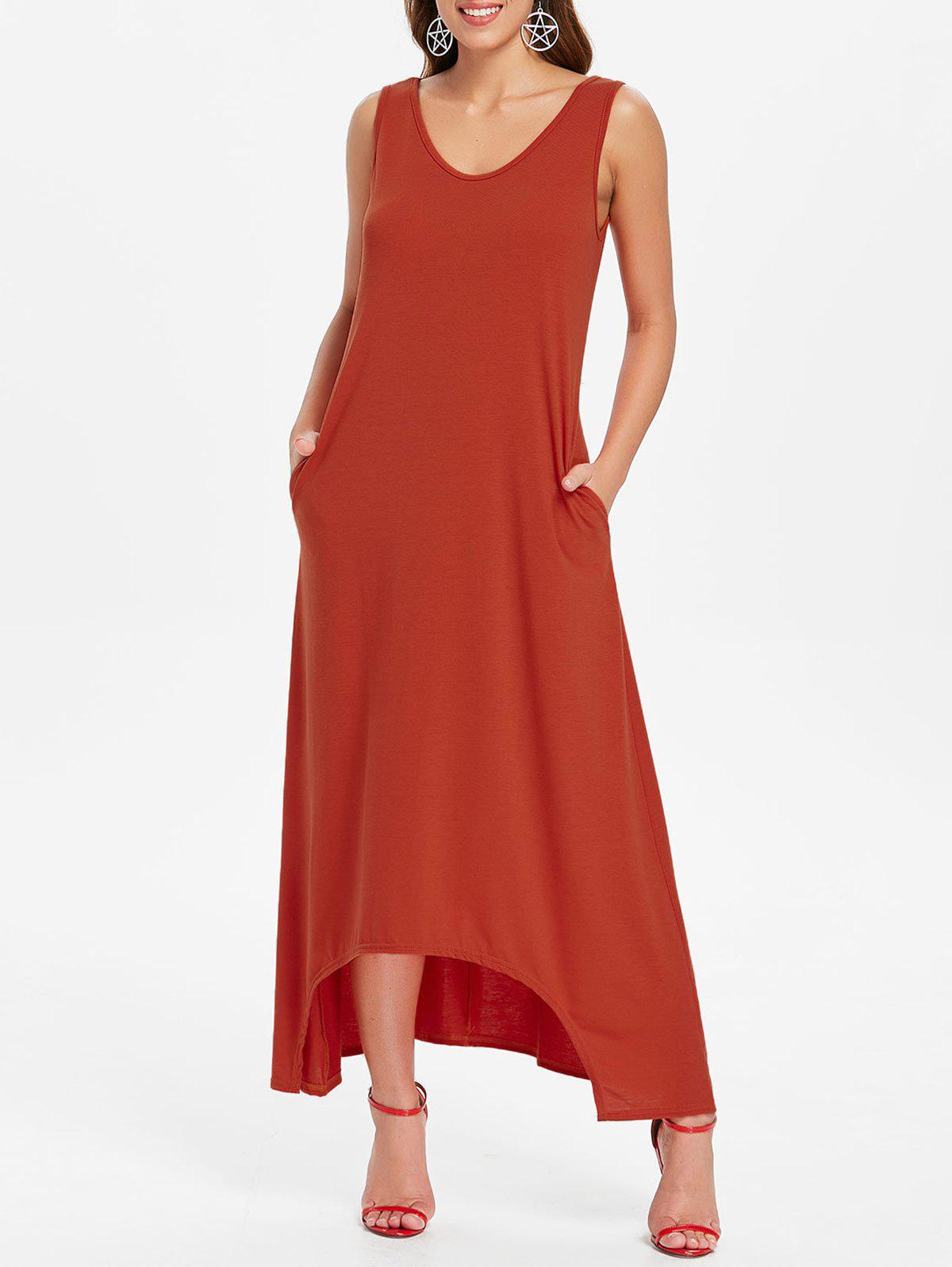 Sleeveless Crescent Hem Maxi Dress - CHESTNUT RED XL
