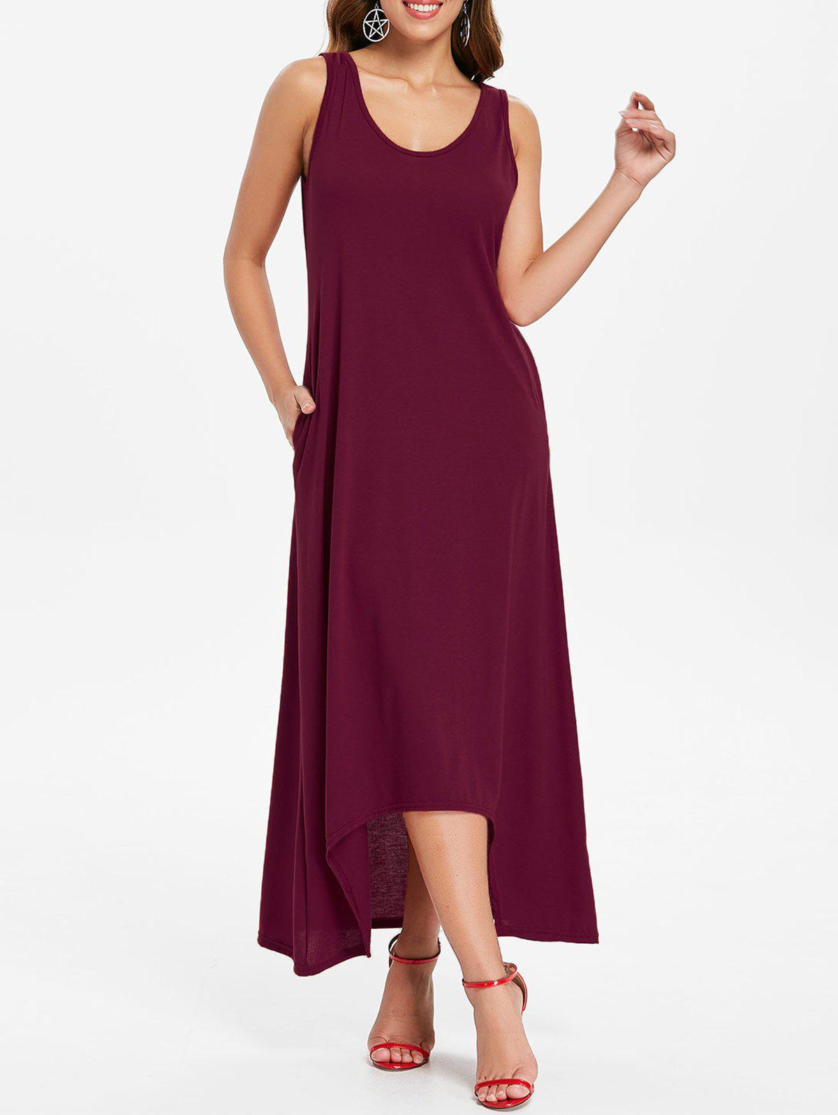 Sleeveless Crescent Hem Maxi Dress - RED WINE XL