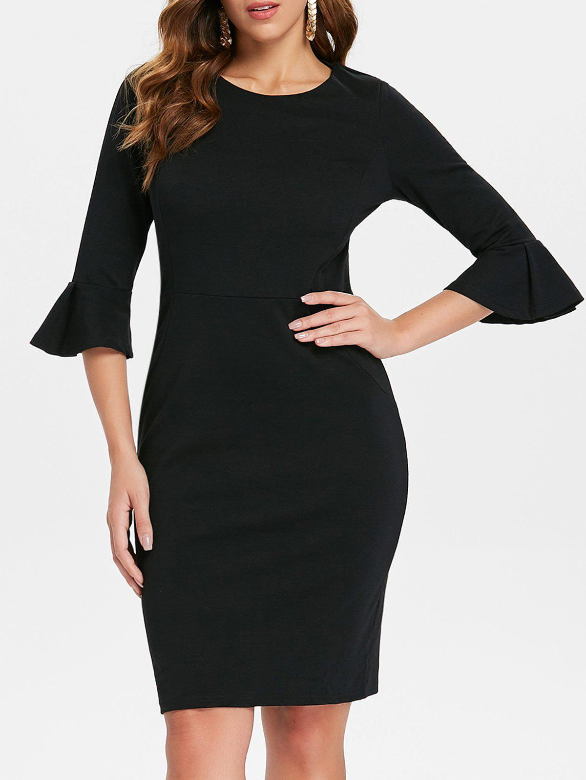 Flare Sleeve Knee Length Work Dress - BLACK L