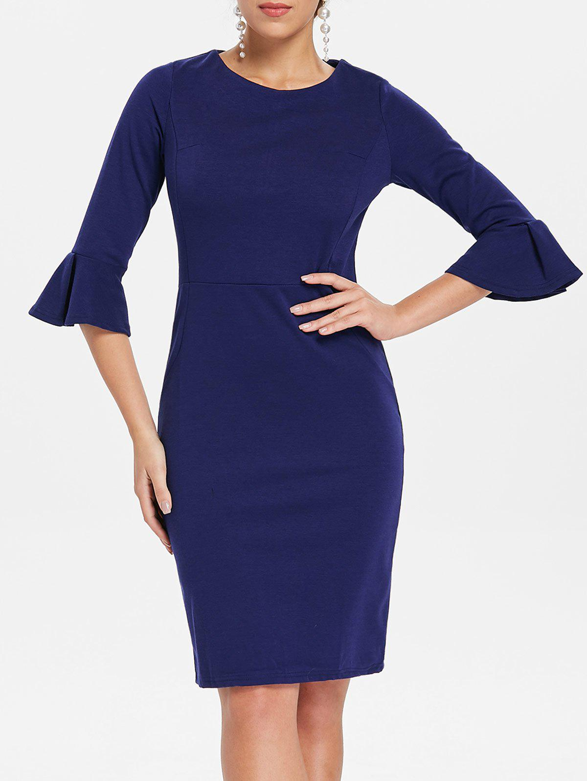 Flare Sleeve Knee Length Work Dress - CADETBLUE XL