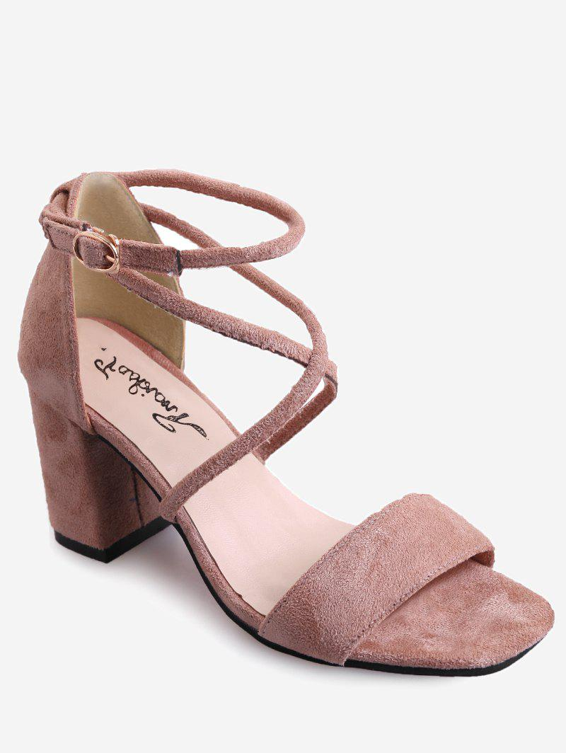 Crisscross Chunky Heel Chic Ankle Strap Sandals - LIGHT PINK 38