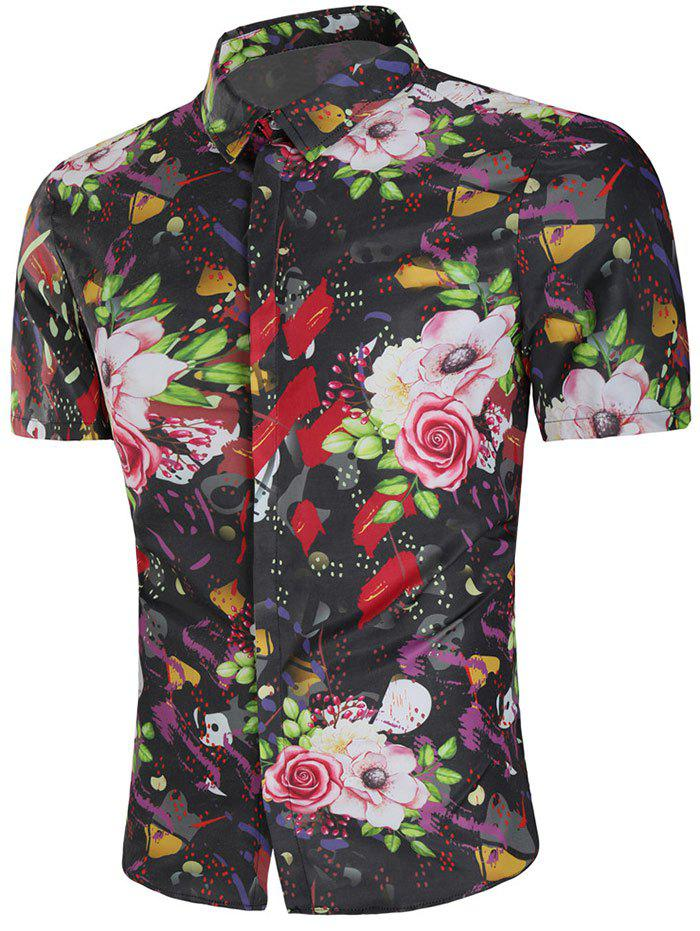 Rose Painting Short Sleeve Shirt - multicolor 2XL