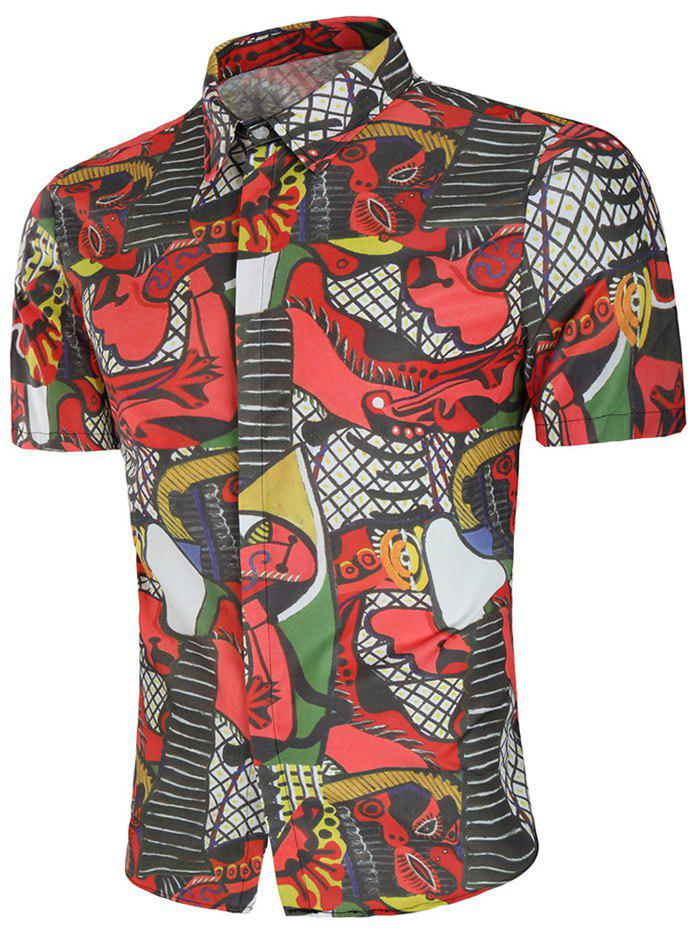 Abstract Print Slim Fit Shirt - multicolor 2XL