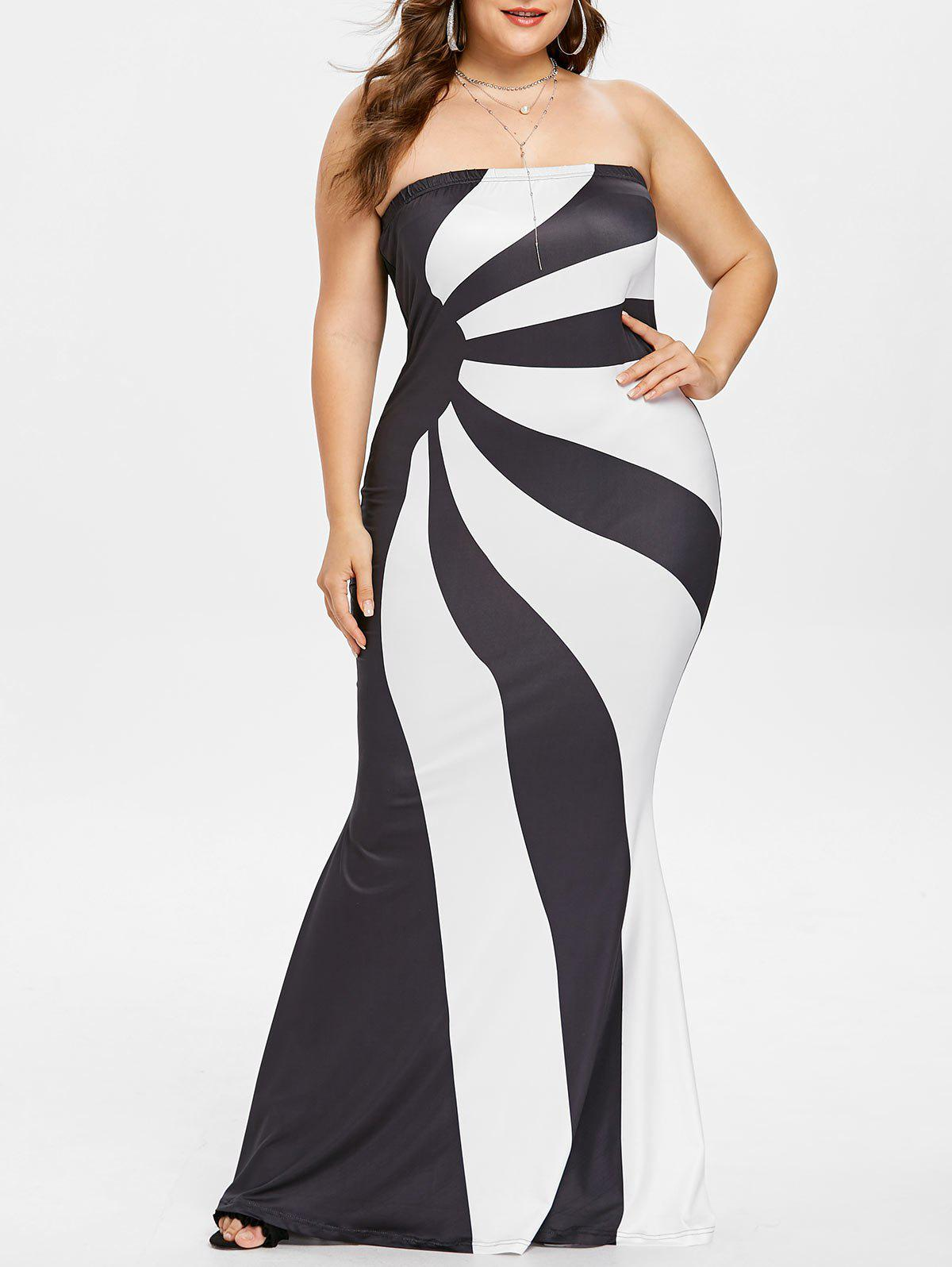 Plus Size Color Block Tube Evening Dress - WHITE 5X