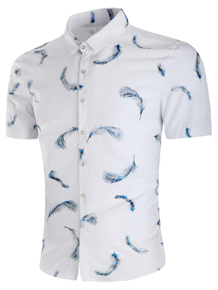 All Over Feather Print Slim Fit Shirt - COOL WHITE XL