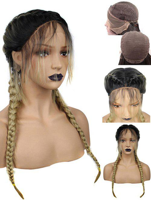 Long Center Parting Colormix Braids Synthetic Lace Front Wig long side parting straight colormix synthetic lace front wig