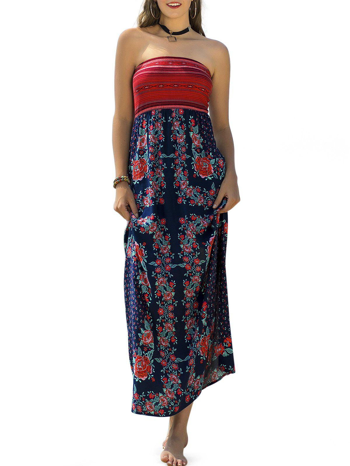 Strapless Floral Printed Vacation Dress - multicolor A M