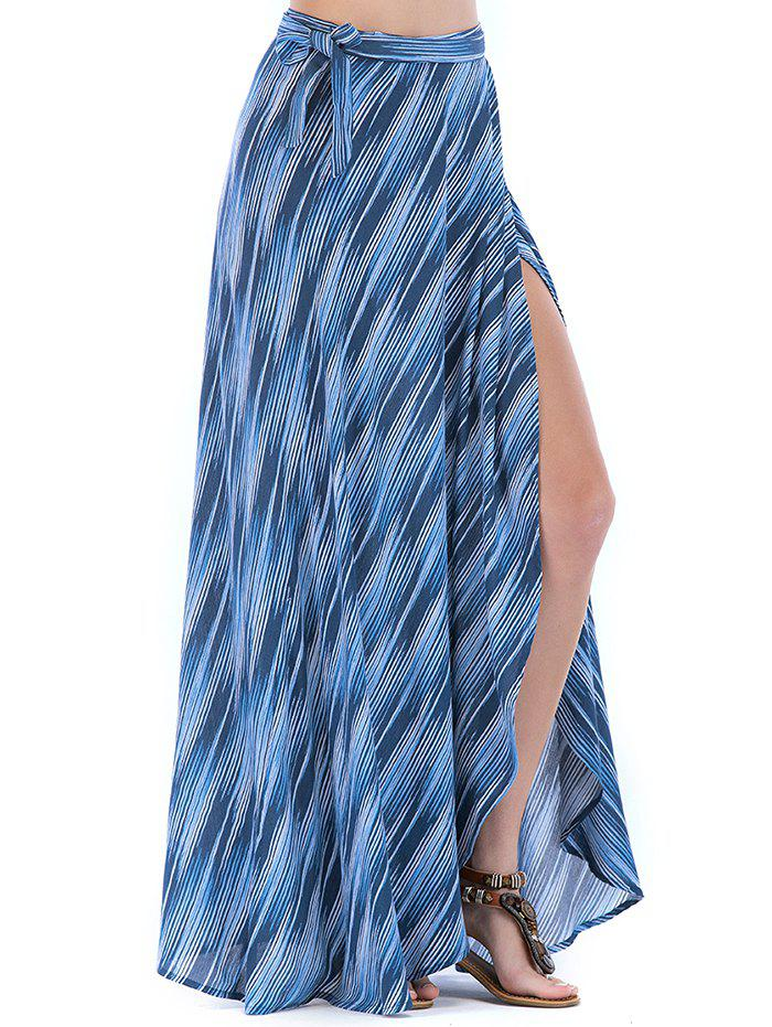 Lace Up Slit Wrap Printed Maxi Skirt - WINDOWS BLUE M