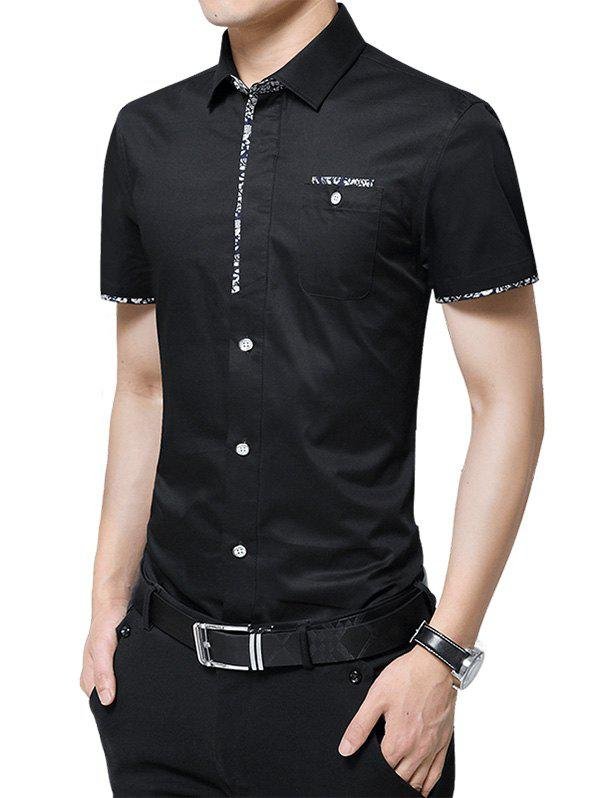 Chest Pocket Flower Panel Shirt - BLACK L