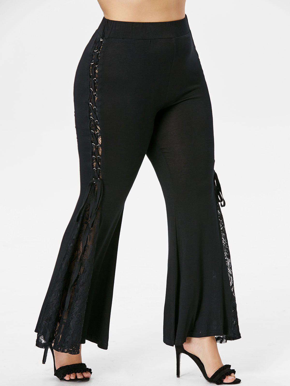 Lace Insert Plus Size Flare Pants - BLACK 4X