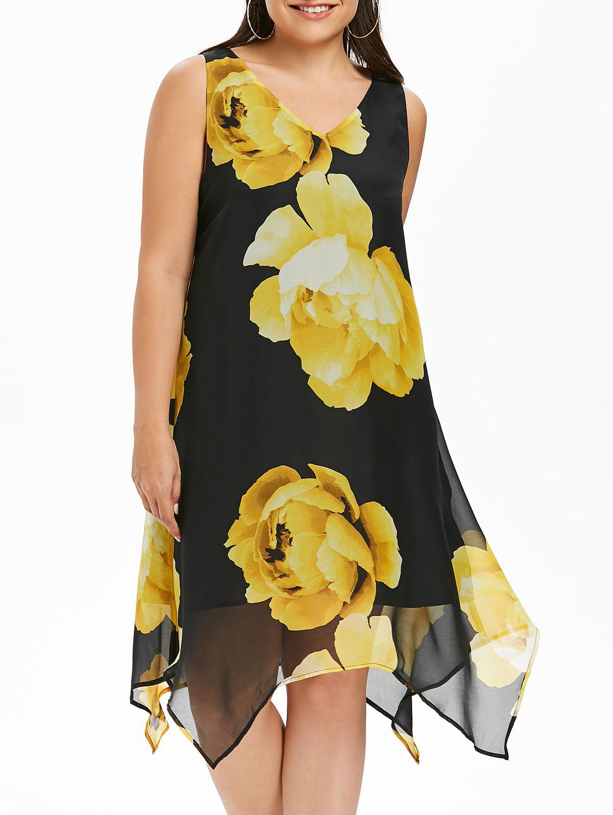 Sleeveless Plus Size Floral Print Dress - BLACK 3X