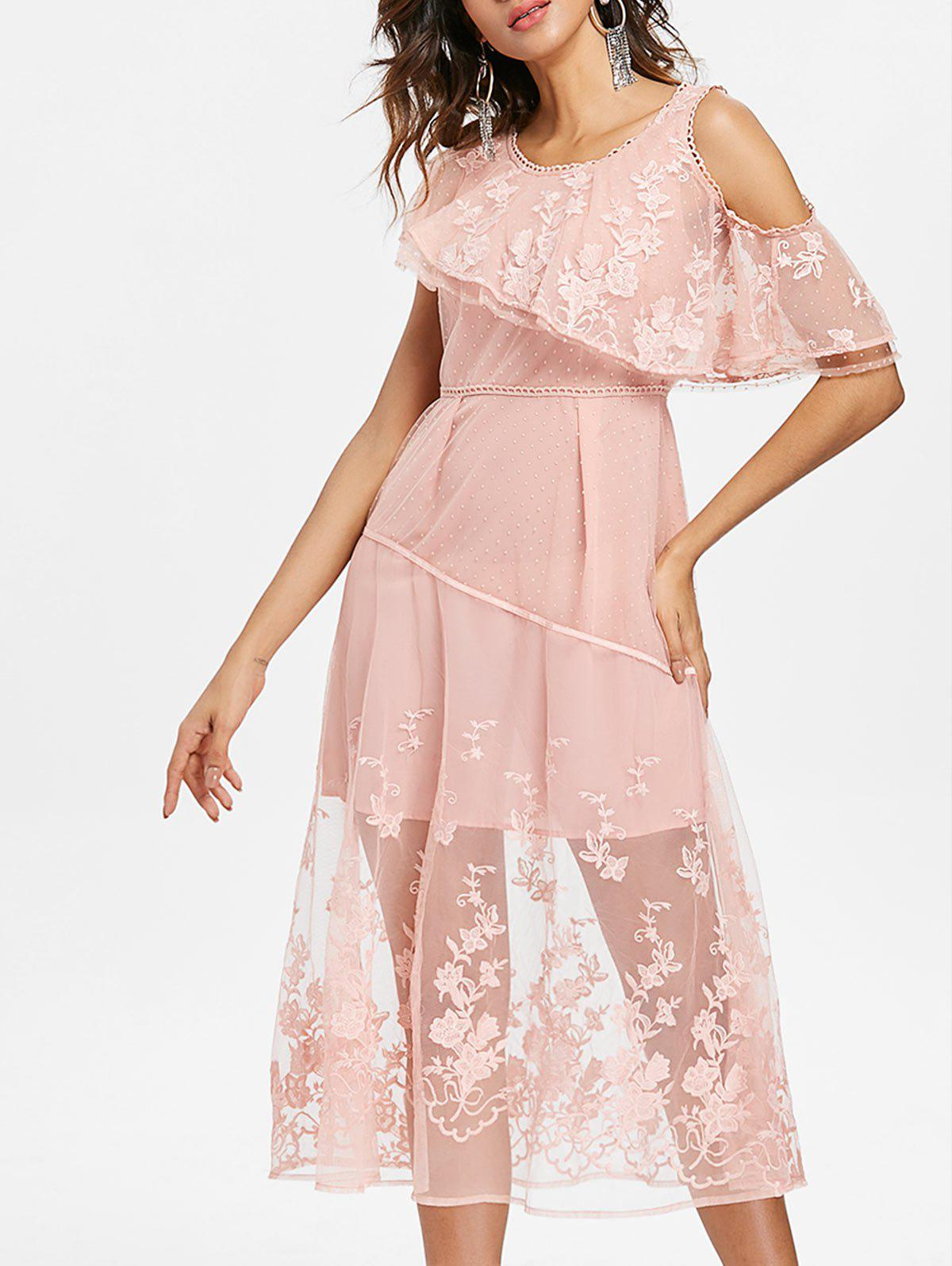 Embroidered Sheer Lace Midi Dress - LIGHT PINK 2XL