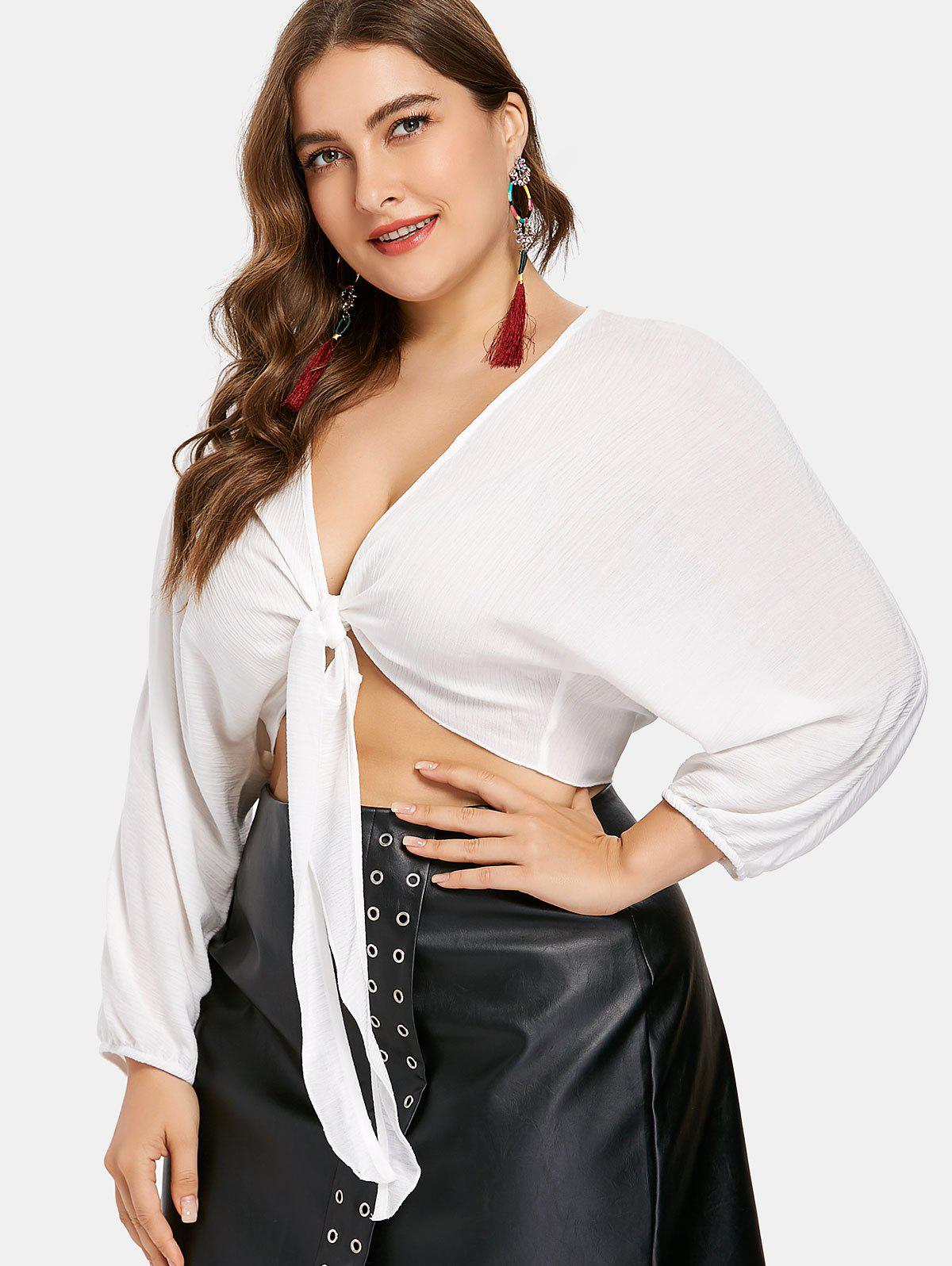 Plus Size Knot Front Plunge Top - WHITE 1X