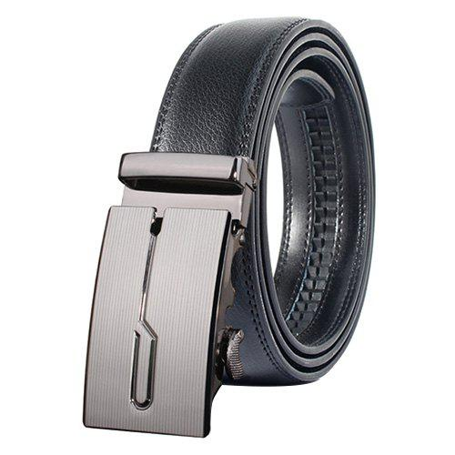 Stylish Geometric Polished Automatic Buckle Wide Belt - DEEP GRAY