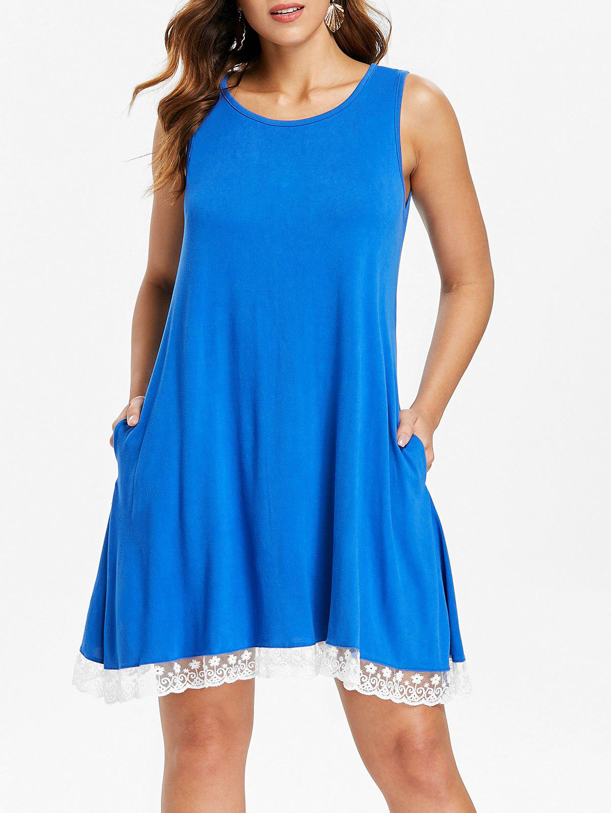 Lace Hemline Shift Dress - BLUE L